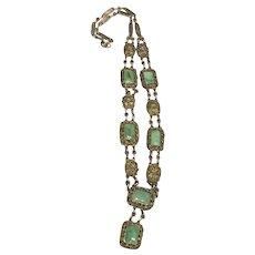 Antique Chinese Gild Silver Filigree Jade/Jadeite  necklace