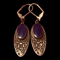 Awesome Vintage 925 Sterling Silver Lapis Lazuli Earrings