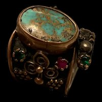 Rare Antique Native America Turquoise Silver Ring Navajo