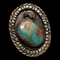 Huge Magnificent Native Navajo Pawn Sterling Silver Green Turquoise Ring Artist Signed