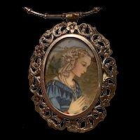 Hand Painted Portrait 800 Silver Antique Brooch /Pendant Necklace