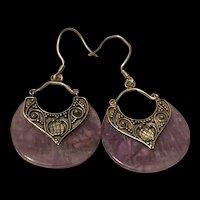 Vintage Hand Carved Translucent Sterling Silver Amethyst Earring