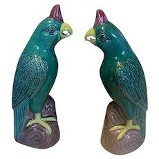 Vintage Chinese Export Porcelain Parrot Bird Figures