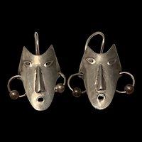 Vintage Sterling Silver Face Mask Earrings