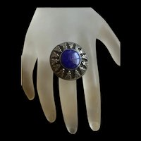 Awesome Vintage Sterling Silver Lapis Lazuli Ring