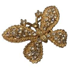 Fabulous Vintage 1940's Gold Tone Butterfly Rhinestone Brooch