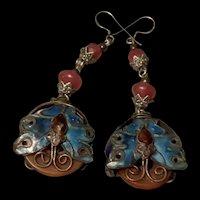 Antique Chinese Export Silver Carnelian Enamel Butterfly Earring