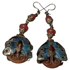Antique Chinese Export Silver Carnelian Enamel Butterfly Earring
