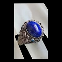 Vintage Chinese Export Sterling Silver Lapis Lazuli Enamel Filigree Adjustable Ring