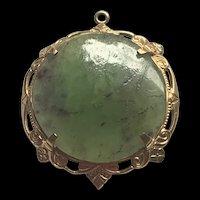 Vintage 14K Gold Jade Round Pendent