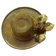 Gorgeous Gold Tone Filigree Hat Brooch With Flower