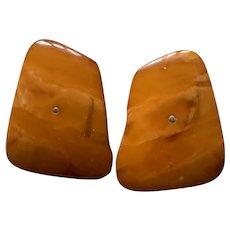Exquisite Large Art Deco Baltic Butterscotch Amber Cufflink