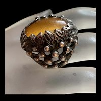 Antique Beautiful Huge Baltic Amber Oval Sterling Silver Ring