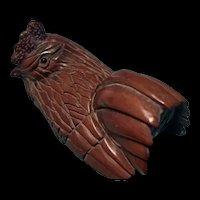 Vintage Japanese Boxwood Wood  Carving Hen Signed