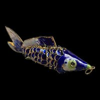 Vintage Chinese Export Sterling Gold Vermeil Enamel Articulated  Fish Pendant