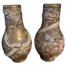 Antique Meiji Japanese Satsuma Hand Painted Immortals Vase