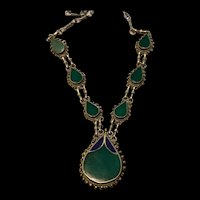 Vintage Blue and Green Stone Hand Made Inlaid Drop Necklace