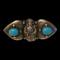 Antique Victorian Sterling Silver Figurines With Sleep Beauty Turquoise Cabochon Brooch