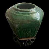 Antique Chinese Green Glazed Ginger Jar With 6 Decorated Panels