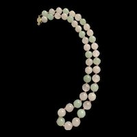 Vintage Chinese Export Pink And Green Quartz Round Bead Necklace