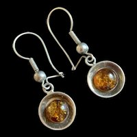Vintage Sterling Silver Baltic Amber Drop Earrings