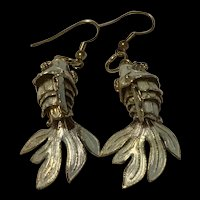 Stunning Vintage Chinese Export Sterling Silver Fish Earrings