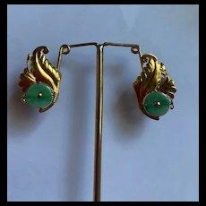 Stunning Art Deco 14K Gold Chinese Apple Green Jadeite Earrings