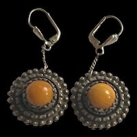 Antique Sterling Silver German Butterscotch Amber Drop Earrings