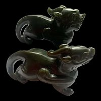 Collectible Vintage Chinese Hand Carved Dark Green Nephrite Jade Kylin Figurines