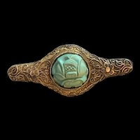 Antique Chinese Export Gild Filigree Sterling Silver Turquoise Flower Brooch Singed