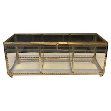 Vintage Long Rectangular Gild Beveled Glass Jewelry Box