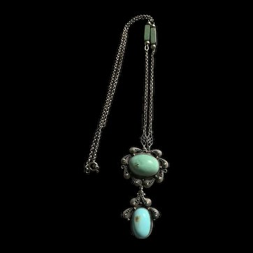 Art Deco Sterling Silver Turquoise Pendant Necklace