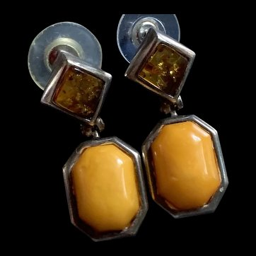 Vintage Solid Sterling Silver Bi-Colors Baltic  Amber Earring