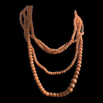 Estate 9K Gold Victorian Guard Graduated.Coral Bead Necklace