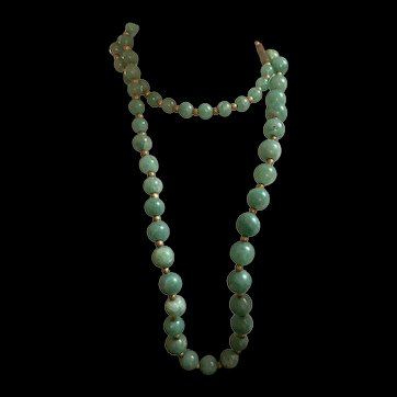 Vintage Chinese Export Graduated Jade Handmade Knotted Bead Strand Necklace