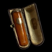 Antique Genuine Butterscotch Amber Gold &Silver Cigarette Holder w / Case