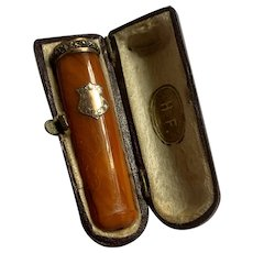 Antique Genuine Butterscotch Amber Gold &Silver Cigarette Holder w / Case
