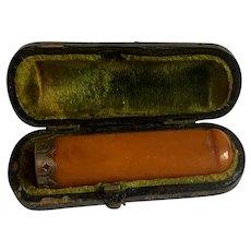 Antique Genuine Butterscotch Amber Gold Plated Cigarette Holder w/ Case