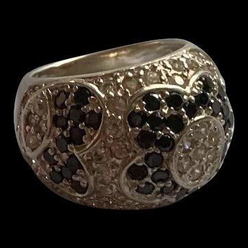 Vintage Large  Sterling Silver Rock Crystal Flower Ring