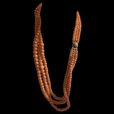 Antique Victorian Triple Strand Graduated Natural Salmon Necklace