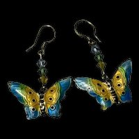 Vintage Chinese Export Sterling Silver Enamel Butterfly With Crystal Beads Earring