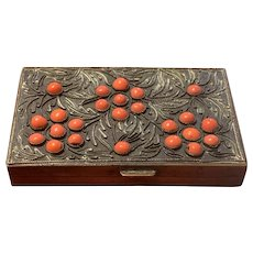 Antique Chinese Export Brass With Coral Cabochon Trinket Box
