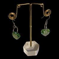 Vintage 925 Sterling Silver Heart Emerald Green Crystal Earrings