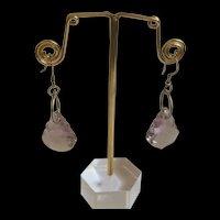 Sparkling Vintage Sterling Silver Light Pink Long Leaf Crystal Earrings
