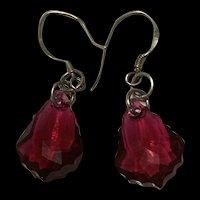 Sparking Sterling Silver Burgundy Swarovski Crystal Dangling Earrings