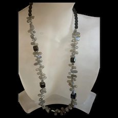 Vintage Sterling Silver Rainbow Quartz With Black Onyx Necklace