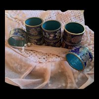 Vintage Chinese Enamel Cloisonné Floral Inspired Napkin Ring Holders