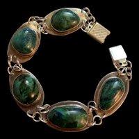Stunning Vintage Sterling Silver Malachite Bracelet