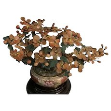 Vintage Chinese Cloisonné Planter With Agate  Flower Tree With Dark Jade Leaves