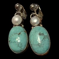 Stunning Vintage Turquoise And Freshwater Pearl Sterling Silver Drop Earring